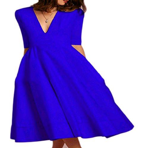 A Linea Scollo Tunica V Coolred Profondo Una Blu donne Abito Vestito Sexy Premio Midi Palla Di YzXS7