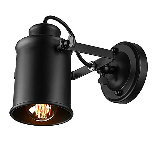 NIUYAO Spotlight Metal Cylinder Shade Mini Small Wall Sconce Wall Lamp Lighting Fixture in Black for Living Room/Bedroom/Kitchen