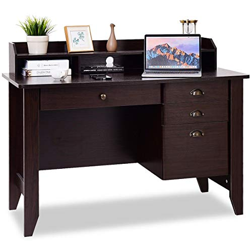 Tangkula Computer Desk, Home Office Desk, Wood Frame Vintage Style Student Table with 4 Drawers & Bookshelf, PC Laptop Notebook Desk, Spacious Workstation Writing Study Table (Brown) (Top Desk Wood Roll)