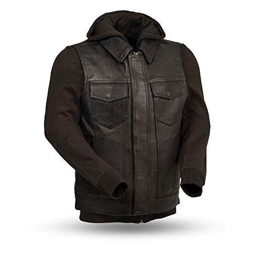 - First Mfg Co Kent Mens leather vest with a removable hooded sweatshirt (Black, X-Large)