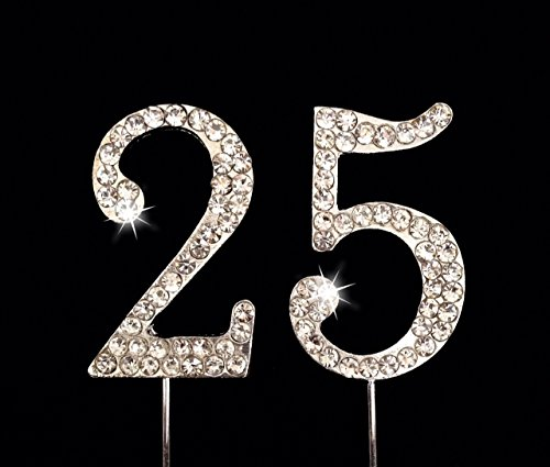 - 25th Birthday/Wedding Anniversary Number Cake Topper with Sparkling Rhinestone Crystals - 1.75