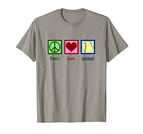 (Peace Love Softball T-Shirt)