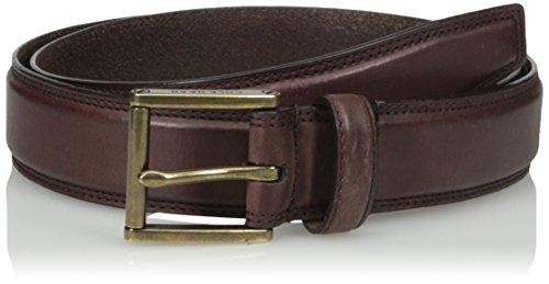 Cole Haan Men's 32mm Double Stitched Pressed Edge Belt, Chestnut Antique Brass, 42