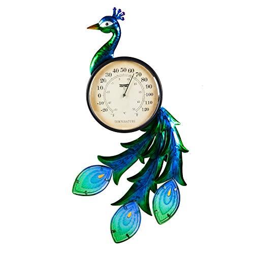 Evergreen Garden Peacock Outdoor Wall Thermometer by Evergreen Garden