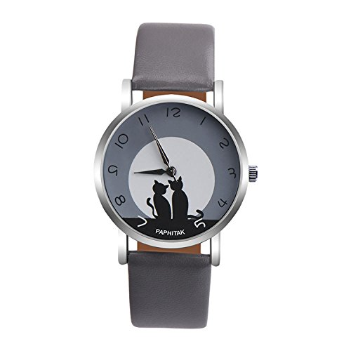 - Womens Quartz Watches,PAPHITAK Cute Cat Pattern Unique Analog Fashion Clearance Lady Watches Female watches on Sale Casual Wrist Watches for Women Comfortable PU Leather Cat Watch-H50 (Gray)