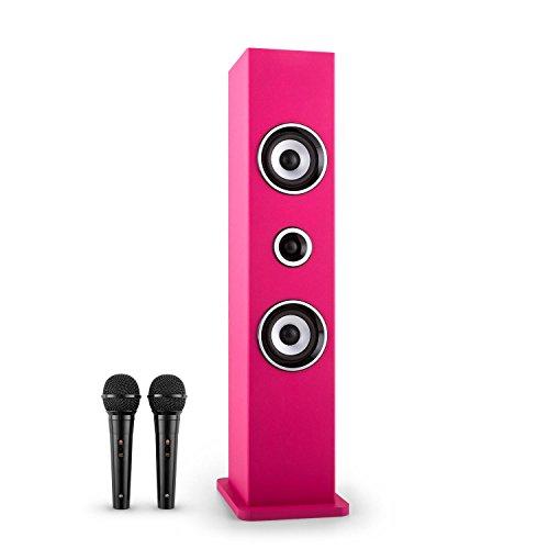 auna Karaboom Karaoke Maschine Kinder Karaoke Anlage mit 2 Mikrofonen (USB-Player, Bluetooth, UKW-Radio, AUX-IN, 2x 6,3mm-Mikrofoneingänge) pink