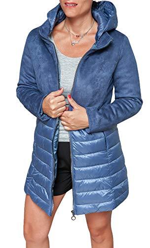 224f70610e359c Giacca Casual Piumino Invernale Scamosciato Evoga Blu Giubbino Donna  PgvWnCq0