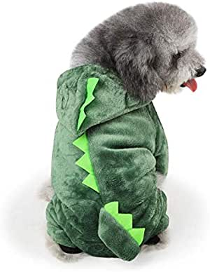 Fashion personality Coral velvet costume for pet dogs cartoon dinosaur design pet dog clothes pet dog jumpsuits