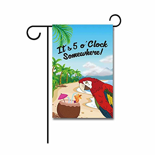 KafePross It's 5 O'clock Somewhere Summer Garden Flag Parrot Party Decor Banner 12.5