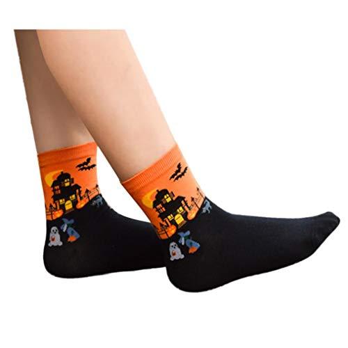Cotton Floor The 3D Lovers Halloween Orange Mid Socks Cartoon Print Pairs Adeshop 1 qfXqR