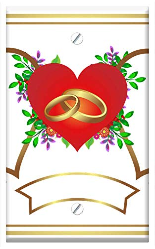Wedding Plate Invitation (Single-Gang Blank Wall Plate Cover - Invitation Wedding Heart Gold Congratulation)