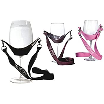 """Wine Glass Holder Necklace, """"WineYoke"""" Party Time Wine Tasting Hand Free Wine Glass Lanyard Necklace - Set of 3: PINK, BURGUNDY & BLACK"""