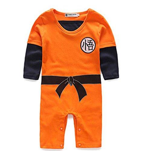 Poetic Walk Baby Toddler Kids Dragon Ball Goku Onesie Jumpsuit Romper (90(10-15month), Sleeve) ()