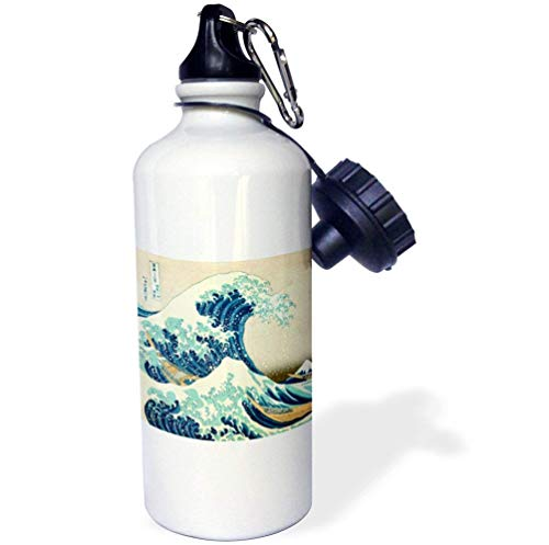 Yohoba The Great Wave Off Kanagawa By Japanese Artist Hokusai Stainless Steel Sport Water Bottle White 20 Ounces by Yohoba