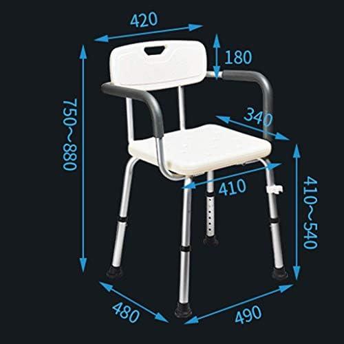 MJY Haushaltsprodukte Dongyd Senioren Dusche Bad Stuhl Schwangere Frau Bad Hocker Aluminium Bad Behinderten Bad Stuhl mit Rückenlehne und Armlehne Weiß