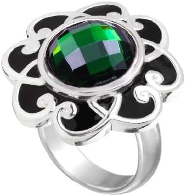 Kameleon Black Enamel Flower Scroll Ring Size 7 * Jewelpop Authentic Silver New KR009Bsize 7