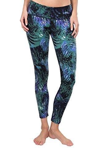 Tuff Athletics Women's Active Supplex Yoga Legging with 40+ Sun Protection (Small, Peacock)
