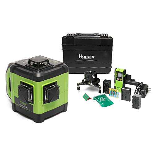 Huepar Electronic Self-Leveling 3D Green Beam Laser Level with Receiver -3x360 Cross Line Three-Plane Leveling and Alignment Line Laser Level -Dual Slope Function, Adaptable Metal Base Included DT03G