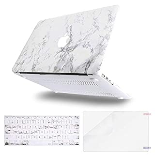 MOSISO MacBook Air 13 inch Case (A1369 & A1466, Older Version 2010-2017 Release), Plastic Pattern Hard Case&Keyboard Cover&Screen Protector Only Compatible with MacBook Air 13, White Marble