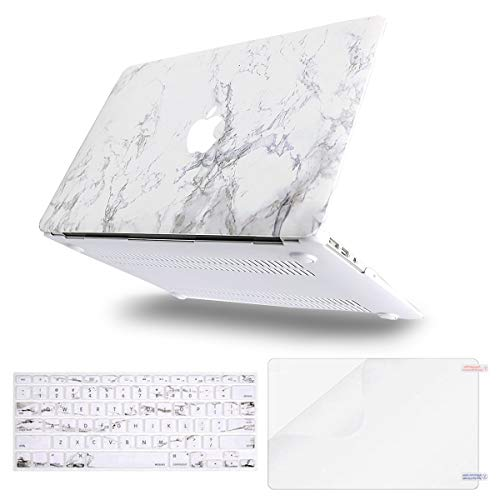 MOSISO MacBook Air 13 Case (A1369 & A1466, Older Version 2010-2017 Release), Plastic Pattern Hard Case & Keyboard Cover & Screen Protector Only Compatible MacBook Air 13 Inch, White Marble