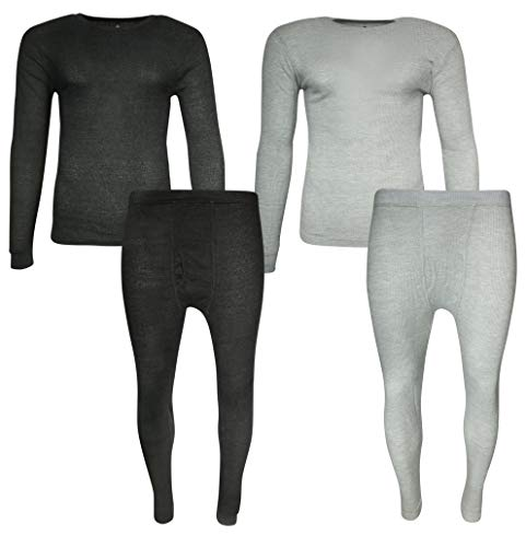 Beverly Hills Polo Club Men\'s 2-Pack Warm Waffle Thermal Underwear Top and Pant 4-Piece Set, Heather Grey/Heather Charcoal, ()