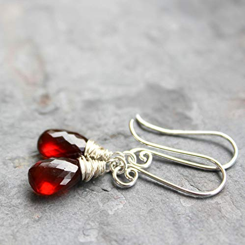 Spessartite Garnet Earrings Sterling Silver Rust Red