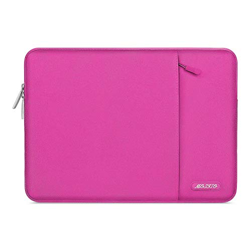 MOSISO Laptop Sleeve Bag Compatible with 13-13.3 inch MacBook Pro, MacBook Air, Notebook Computer, Water Repellent Polyester Vertical Protective Case with Pocket, Rose Red