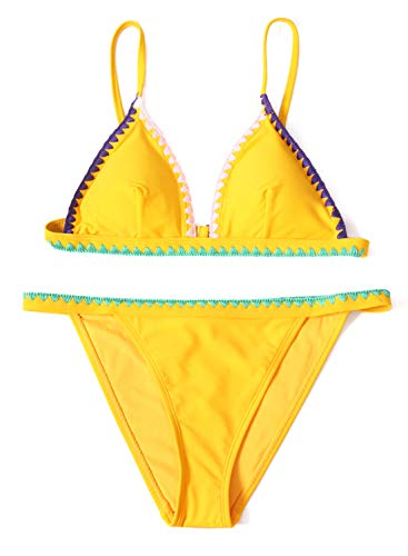 (Arainlo Womens Retro Padded Embroidered Trim Bikini Set Two Piece Solid Color Two Piece Bikini for Ladies Party Vaction Yellow S)