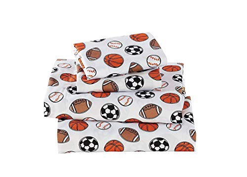 (Elegant Home Multicolors Sports Basketball Soccer Football Baseball Fun 4 Piece Printed Queen Size Sheet Set with Pillowcases Flat Fitted Sheet for Boys/Kids # Sports Navy (Queen Size))