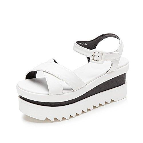 Xing Lin Sandalias De Cuero Sandalias Verano Mujer Zapatos Bizcocho Nuevo Al Final De Gruesos Tacones Sandalias De Moda Casual white
