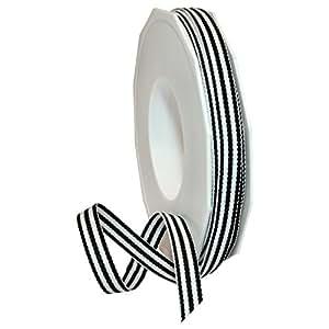 """Morex Ribbon 99502/20-613 Grosgrain Stripes Ribbon, 3/8"""" by 20 yd., Black"""