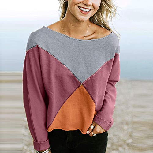 Shirt Strapless Blouse Sweatshirt Rawdah Fashion Women Purple Sleeve Pullover Patchwork Long T qU0Ew7