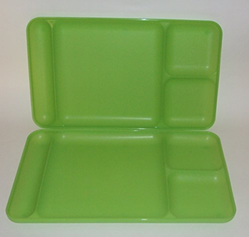 Tupperware Divided Dining TV Trays Picnic Kids Lunch Plates Sheer Lime Green
