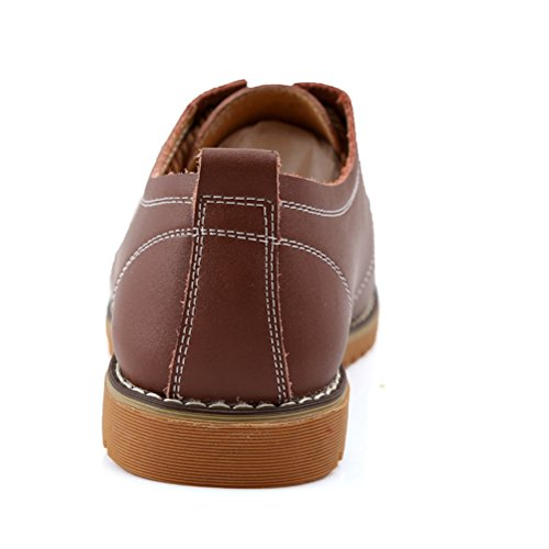 XIGUAFR Chaussure en Cuir Homme Simple Chaussure de Travail au Loisir a Lacets Printemps Brun KLEr8ruvE8