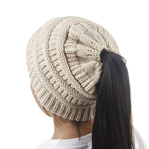 Kids Winter-Warm Ponytail Knit-Beanies-Hat, Ski Skull Cap | Girls Messy Bun Slouch Hats Caps (Beige)