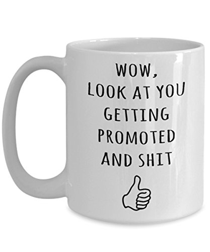 (Promotion Gifts - Wow, Look At You Getting Promoted And Sht Coffee Mug - Funny Gag Idea For Party)
