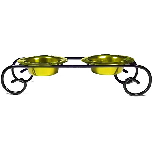 Diner Scroll (Platinum Pets Scroll Double Diner Cat Stand, 6-Ounce, Corona Lime)