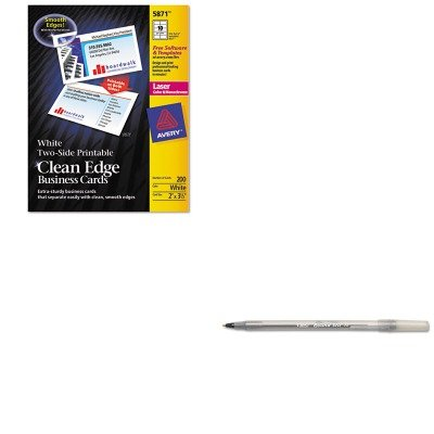 KITAVE5874BICGSM11BK - Value Kit - Avery Two-Side Printable Clean Edge Business Cards (AVE5874) and BIC Round Stic Ballpoint Stick Pen (BICGSM11BK) by Avery