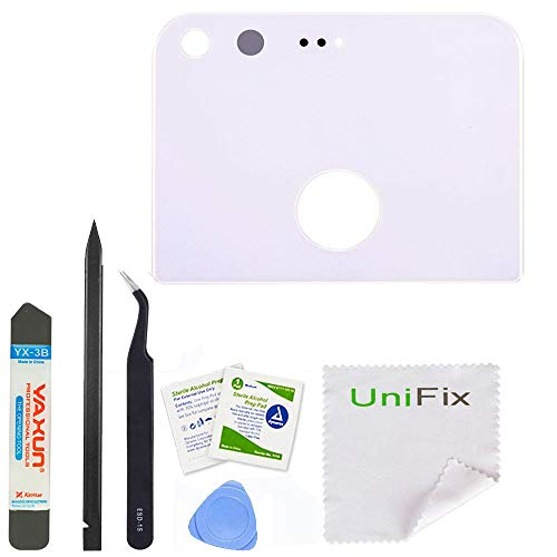 Unifix White Back Rear Camera Glass Lens Cover Replacement with Adhesive for Google Pixel 5.0 + Repair Tools