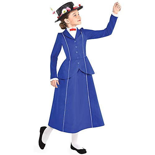 Suit Yourself Mary Poppins Costume for Girls, Size Large, Includes a Detailed Blue and White Dress and a Floral Hat -