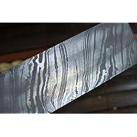 Perkin Knives Barre d'acier de Damas pour fabrication de couteau 200 couches minimum 254 x 38 x 4 mm