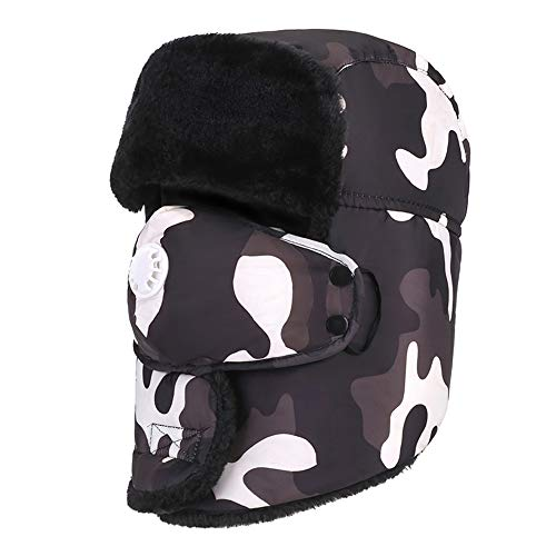 Pandady Winter Trapper Warm Hat Detachable Face Mask Windproof Waterproof Breathable Camouflage Snow Hat Men Women Serious Expeditions Serious Style,Black