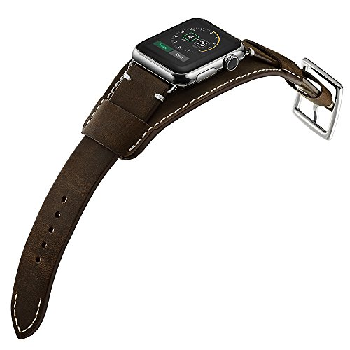 Look Cuff Watch - Balerion-Genuine Leather Smart Watch Band Cuff Strap Replacement for iWatch Apple Watch Series 1 Series 2 Series 3+-38MM cuff coffee