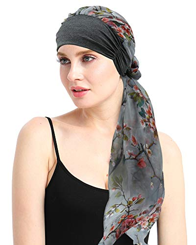 Pre Tied Head Wrap Scarfs Easy Tie Bandana Cotton Bamboo Sleep Cap Medical Gifts for Chemotherapy Women Gray Pink (Scarves For Chemo Patients)