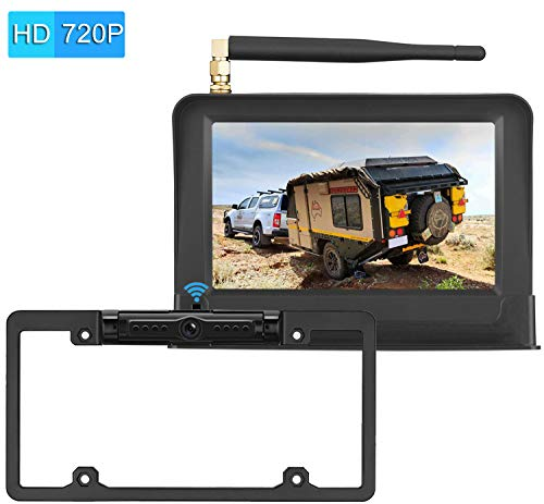 LeeKooLuu Digital Wireless Backup Camera System 2019 Vision HD 720P for Cars,RVs,Pickups,Trucks,Campers IP69 Waterproof License Plate Camera Front/Rear View Super Night Vision Guide Lines On/Off ()
