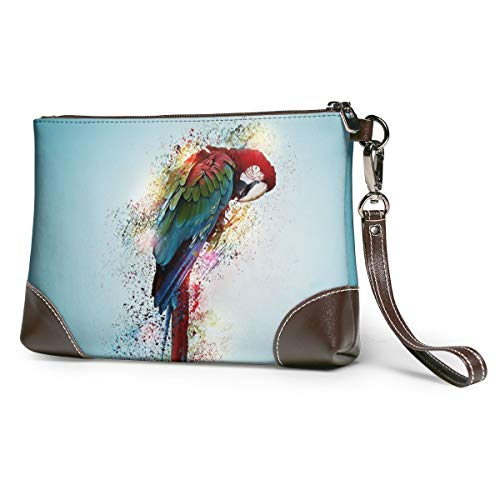 Women's Leather Wristlet Clutch Wallet Parrot Storage Purse With Strap Zipper Pouch