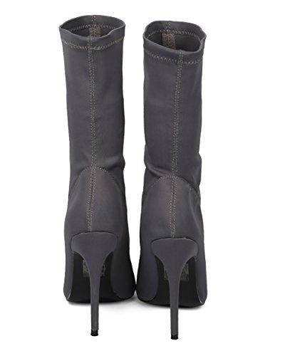 Alrisco Dames Stretch-stof Middenkalf Puntige Neus Stiletto-soklaars - Hf44 By Top Show Collectie Grijs Lycra