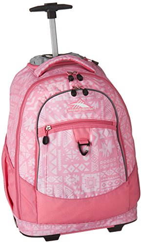 High Sierra Chaser Wheeled Laptop Backpack, Block Print/Pink - Backpacks Wheeled Pink