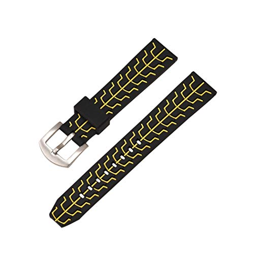 Watch Band Silicone Breathable Tire Strap Black Yellow Sport Diving Rubber Wristband 24mm