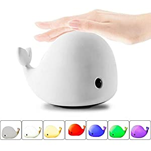 Mystery 4-Modes Children Night Light, USB Rechargeable Dolphin Night Light With Warm White, Strong White, 5 Single Colors and 5-Color Breathing Modes, Sensitive Tap Control for Baby Adults Bedroom